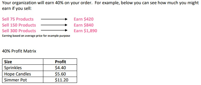 Pink Zebra Fundraiser Earnings