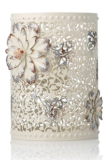 Blooming Vine Metal Cutout Shade with Flower Medallions (4''d x 6''h)