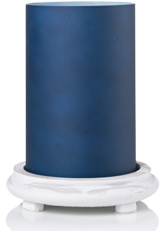 Indigo Blue Simmering Light w/ Antique White Base
